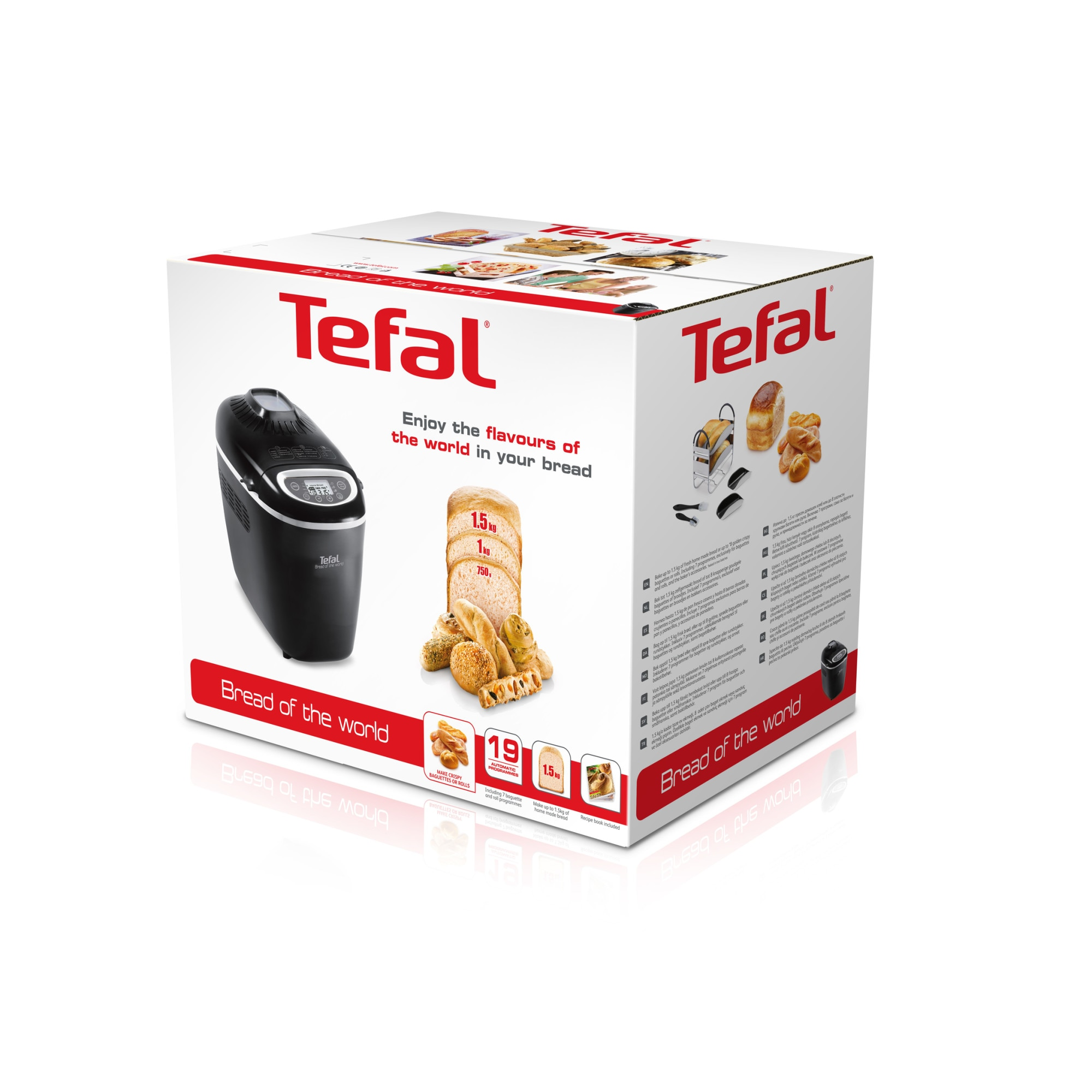 Tefal Bread of the World PF6118 Kenyérsütőgép, 1600 W, 1500 g, 19 program, Fekete ebE6Pc