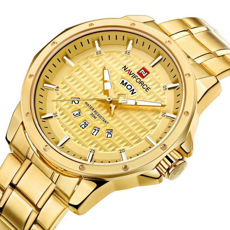 NAVIFORCE arany színű férfi karóra nap és dátum mutatóval