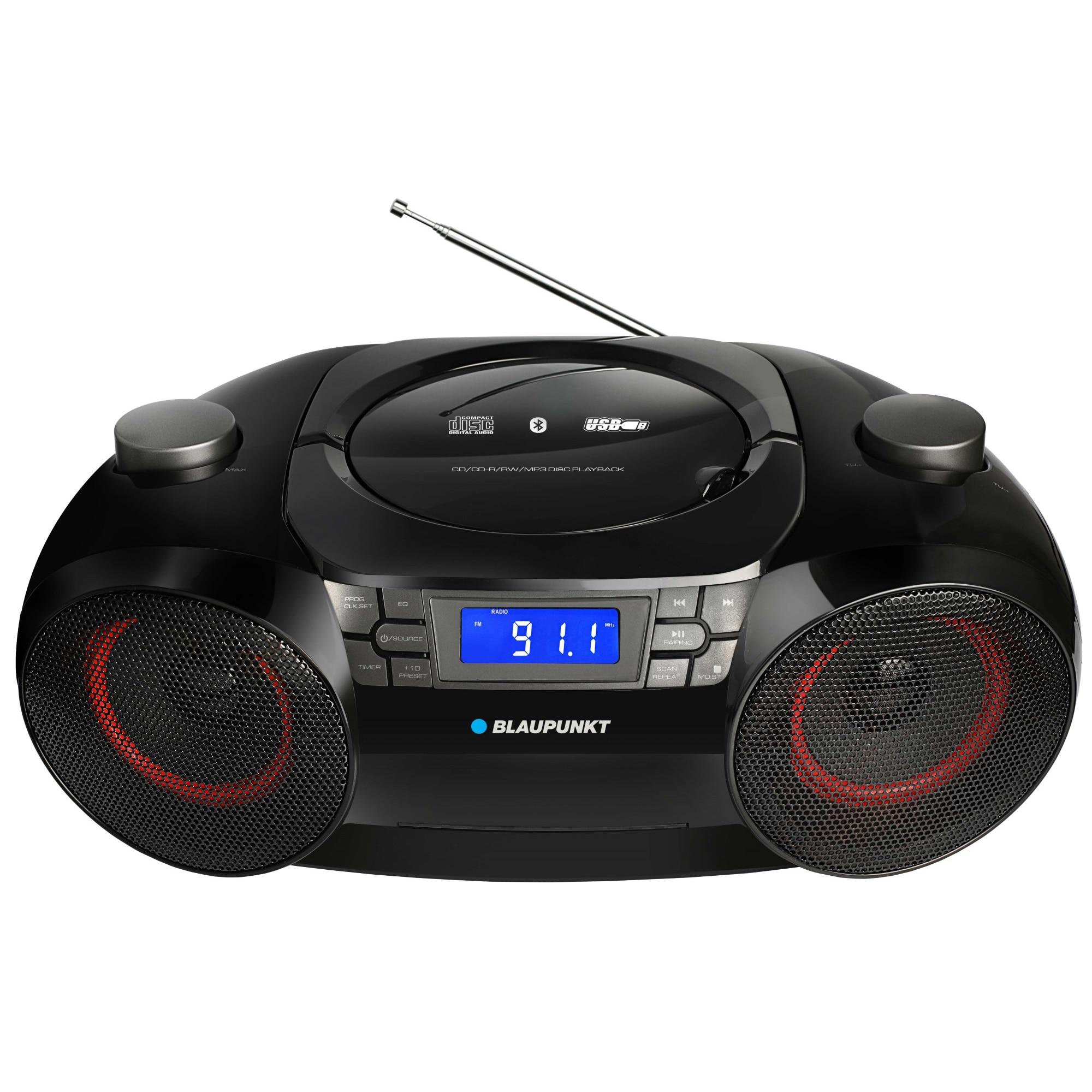 Fotografie Microsistem Blaupunkt BB30BT, Bluetooth, FM, CD, USB, MP3, negru