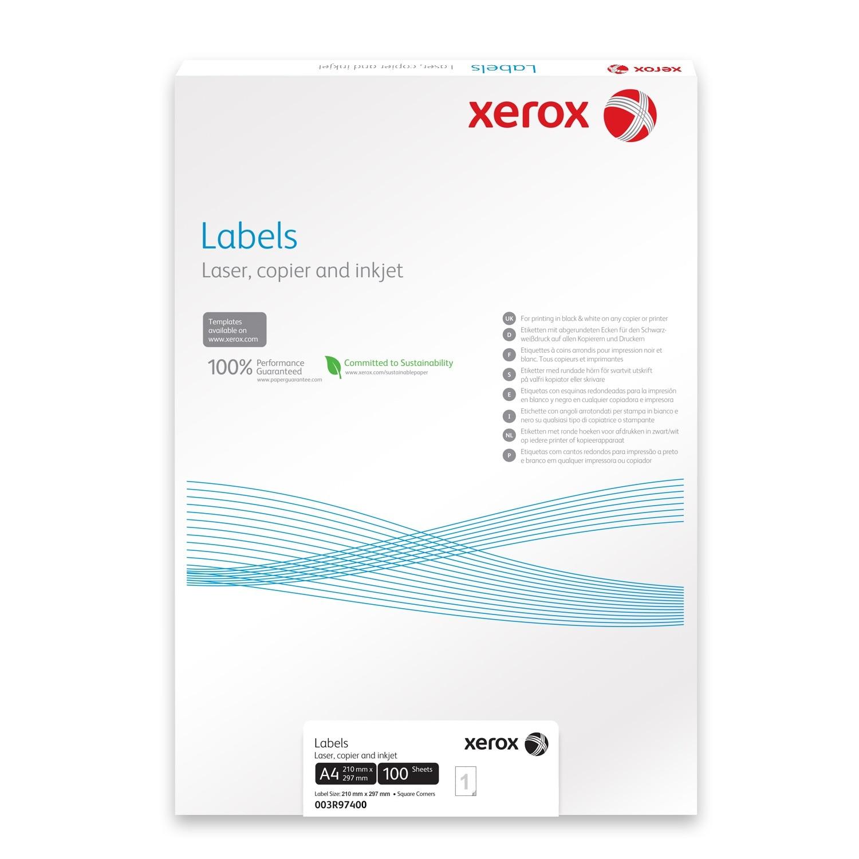 Fotografie Etichete Xerox 1/A4, 210x297mm, colturi drepte, 100 coli/top