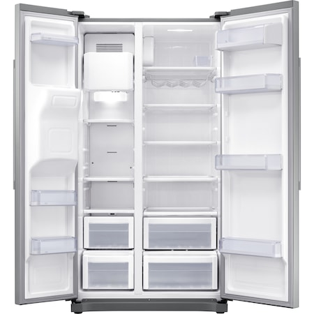 Хладилник Side by side Samsung RS50N3513SA/EO, 501 л, Клас F, Full NoFrost, Компресор Digital Invertor, Дисплей, Диспенсър, H 178 см,Metal Graphite