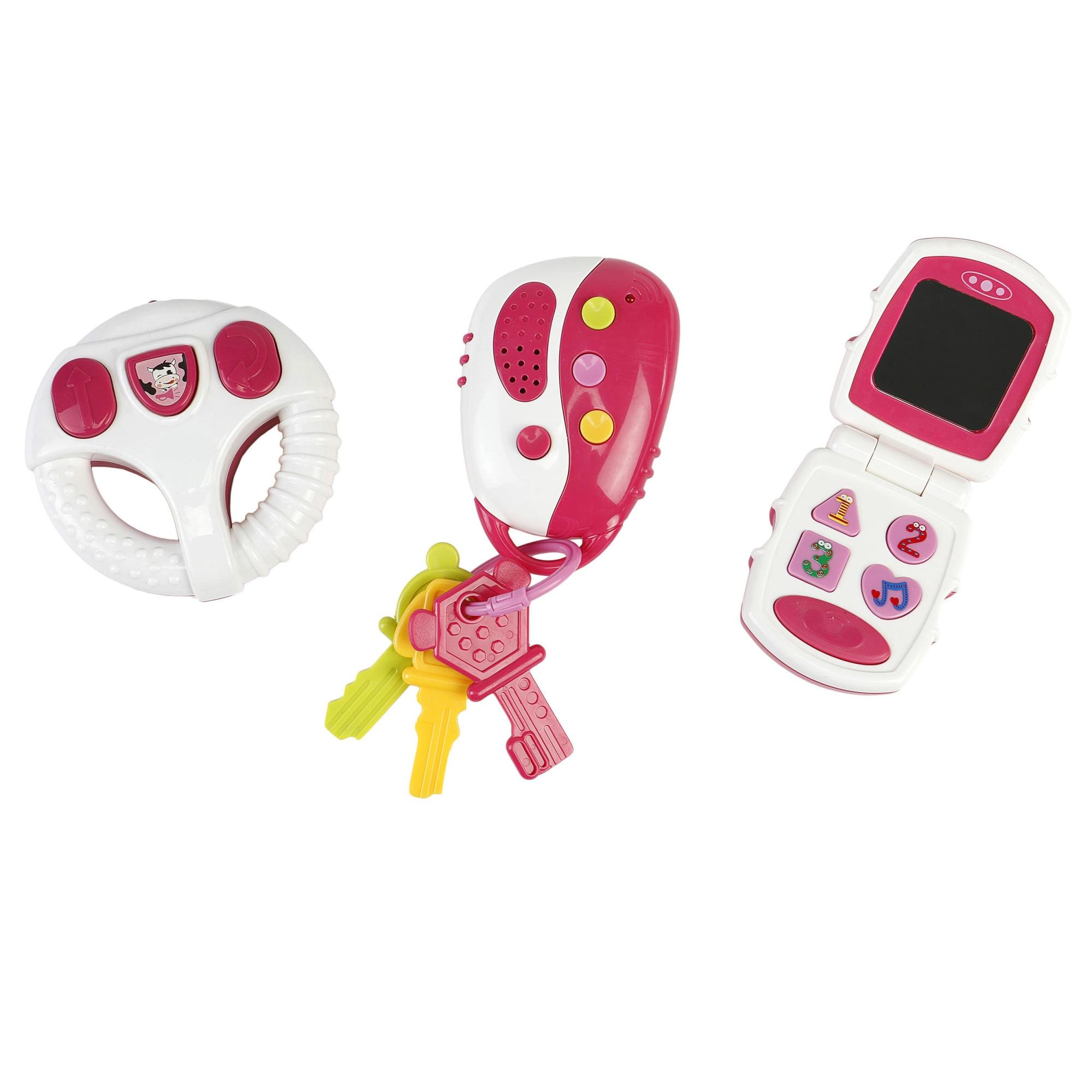 Fotografie Set jucarii bebelusi M-Toys, volan, telefon si telecomanda, cu lumini si sunete, roz