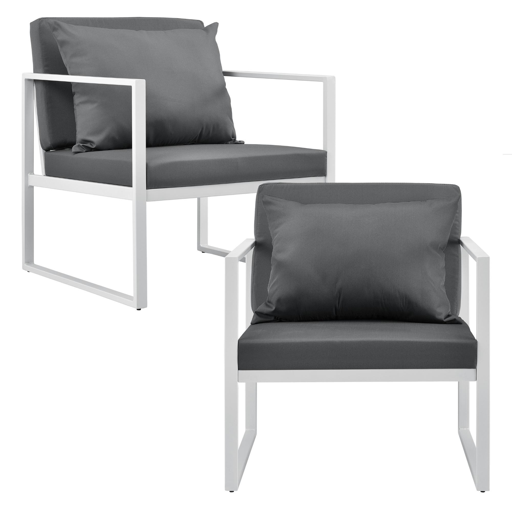 [casa.pro]® Kerti bútor szett 2 x kerti szék kanapé üveg dohányzóasztal fehér