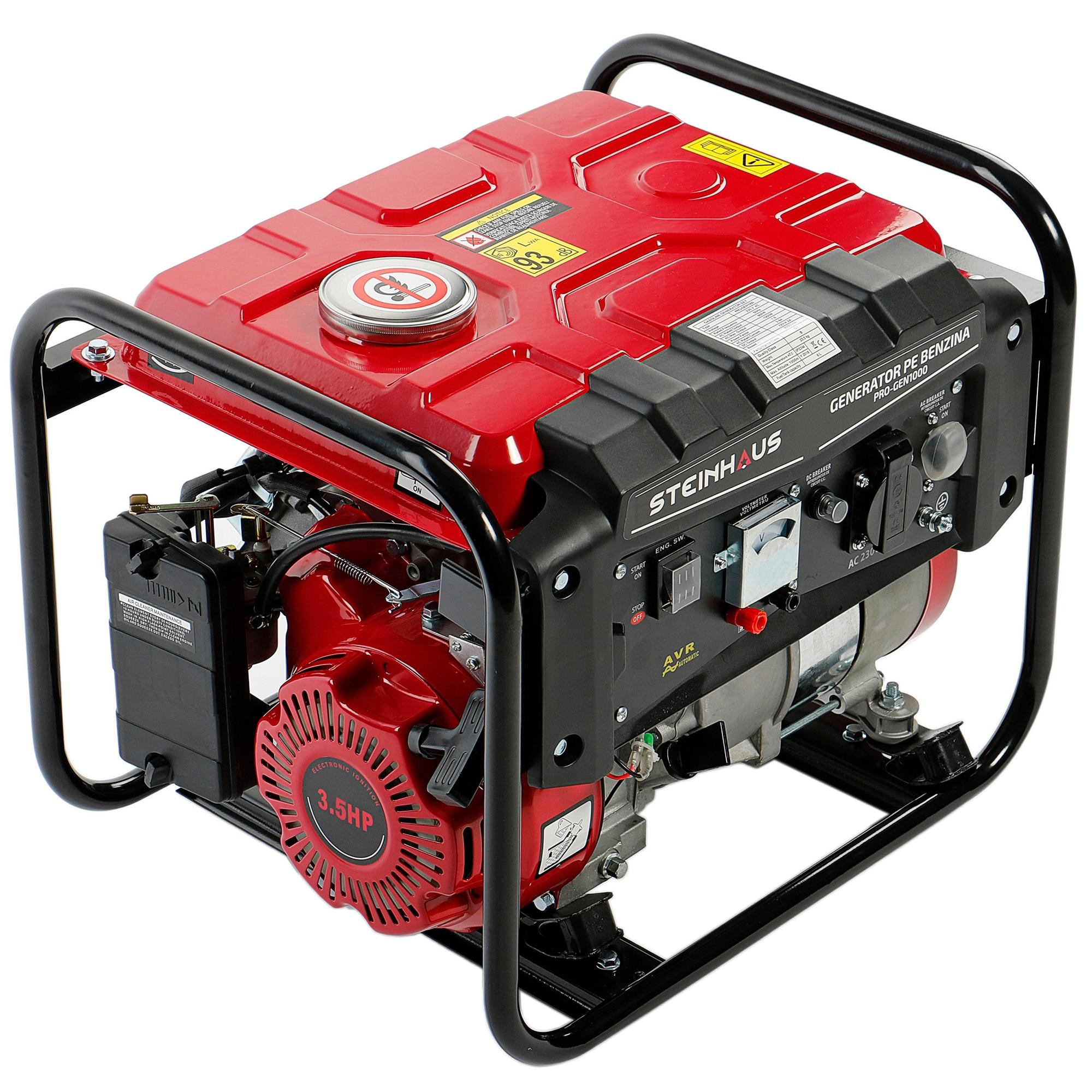Fotografie Generator curent electric Steinhaus PRO-GEN1000, 1000 W cu stabilizator de tensiune, Benzina, Autonomie 9 h