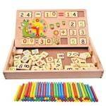 Tablita multifunctionala cu cifre si ceas, Jucarie Montessori