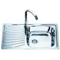 Кухненска мивка Inter Ceramic, За вграждане, С ляв плот, Със завършен монтажен сет и сифон, 80х50х18см