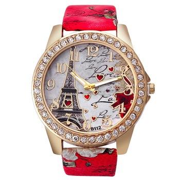 Divatos női óra Eiffel torony mintával, kövekkel, piros