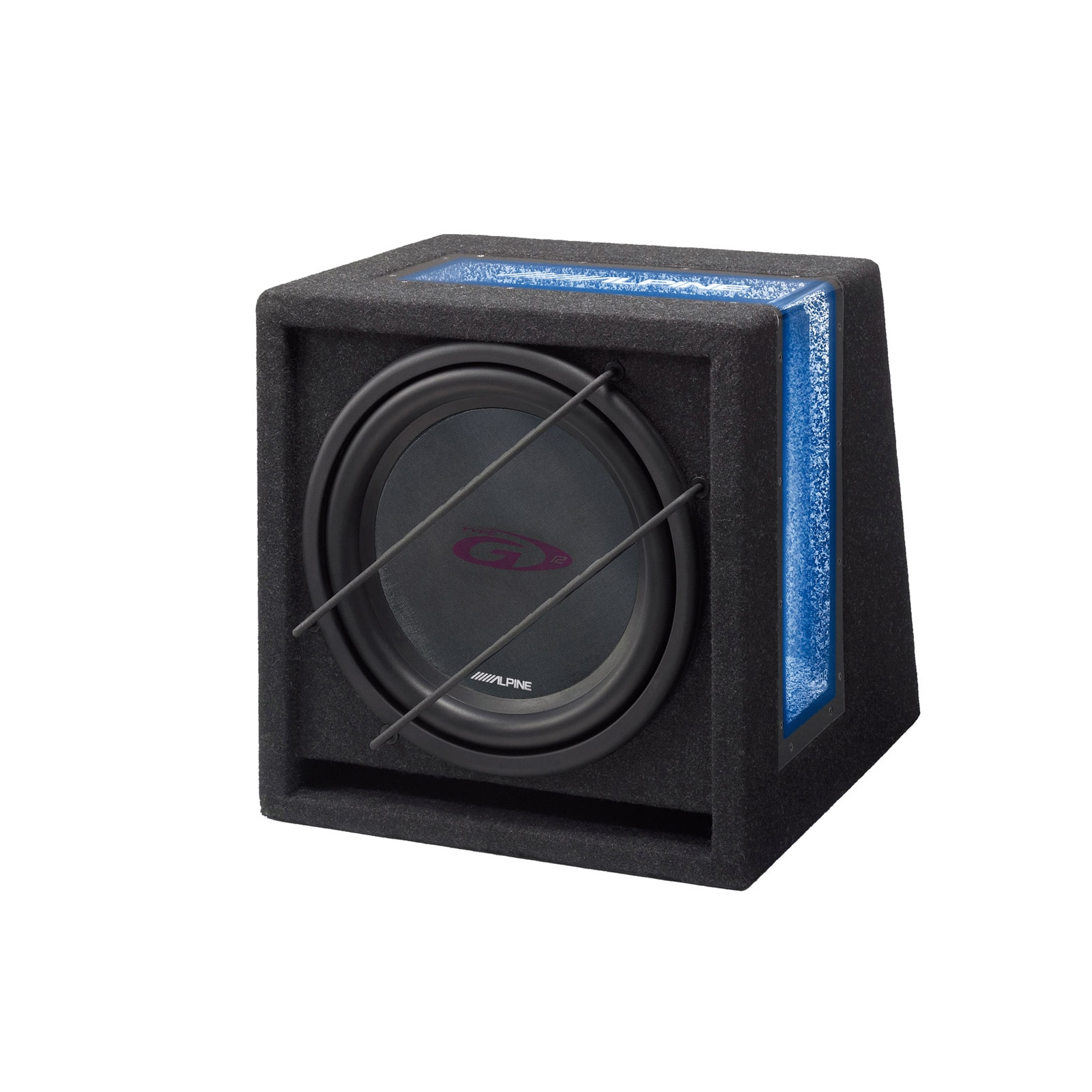 "Fotografie Subwoofer auto Alpine Bass Reflex, SBG-1224Br, 12"" (30 cm), 800W, 250 RMS, fereastra Acrylic cu iluminare albastra, 2 Ohmi"