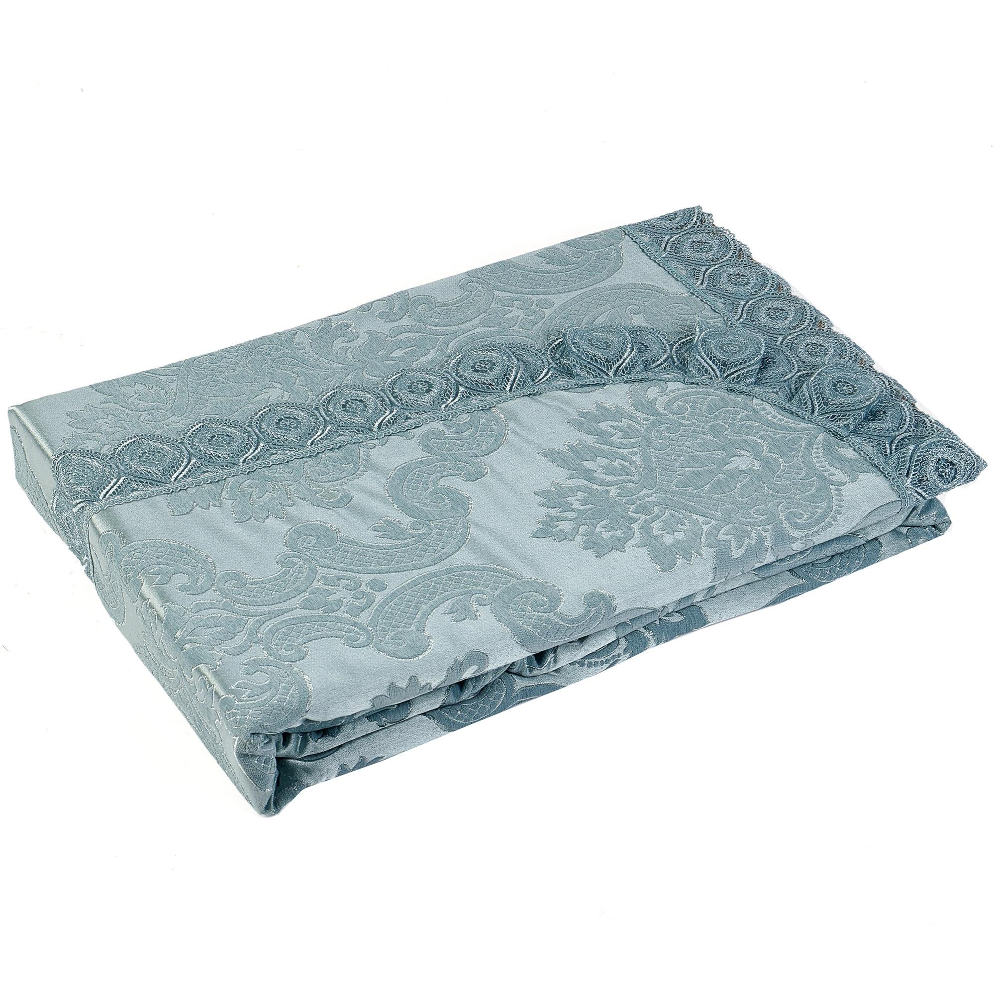 Fotografie Set cuvertura luxury Kotonia Home, 200x220 cm si 2 fete de perna 60x80 cm, 100% bumbac, turcoaz