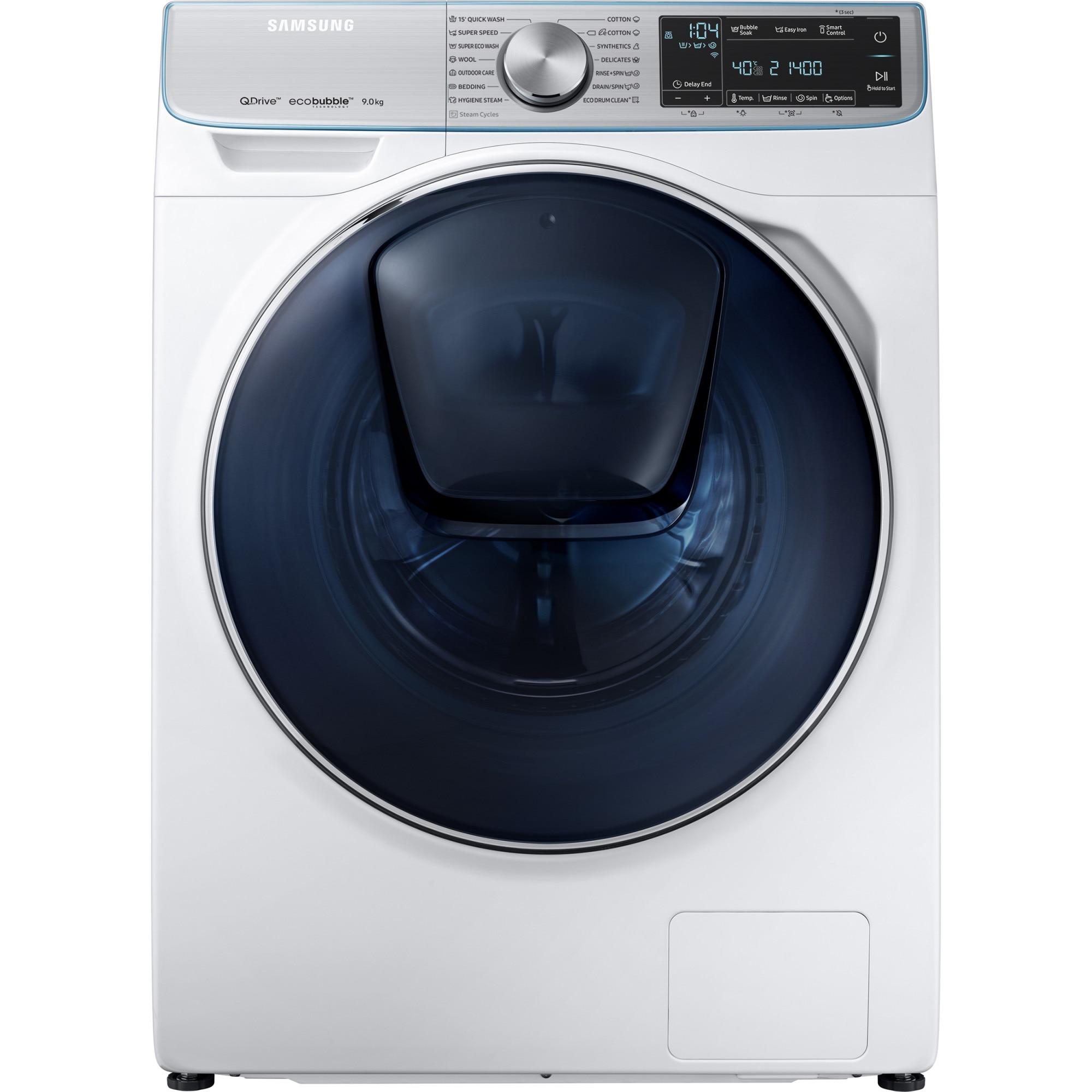 Fotografie Masina de spalat rufe Samsung WW90M741NOA/LE, Tehnologie QuickDrive, AddWash, Eco Bubble, Motor Digital Inverter, 9kg, 1400 RPM, Clasa A+++, Alb