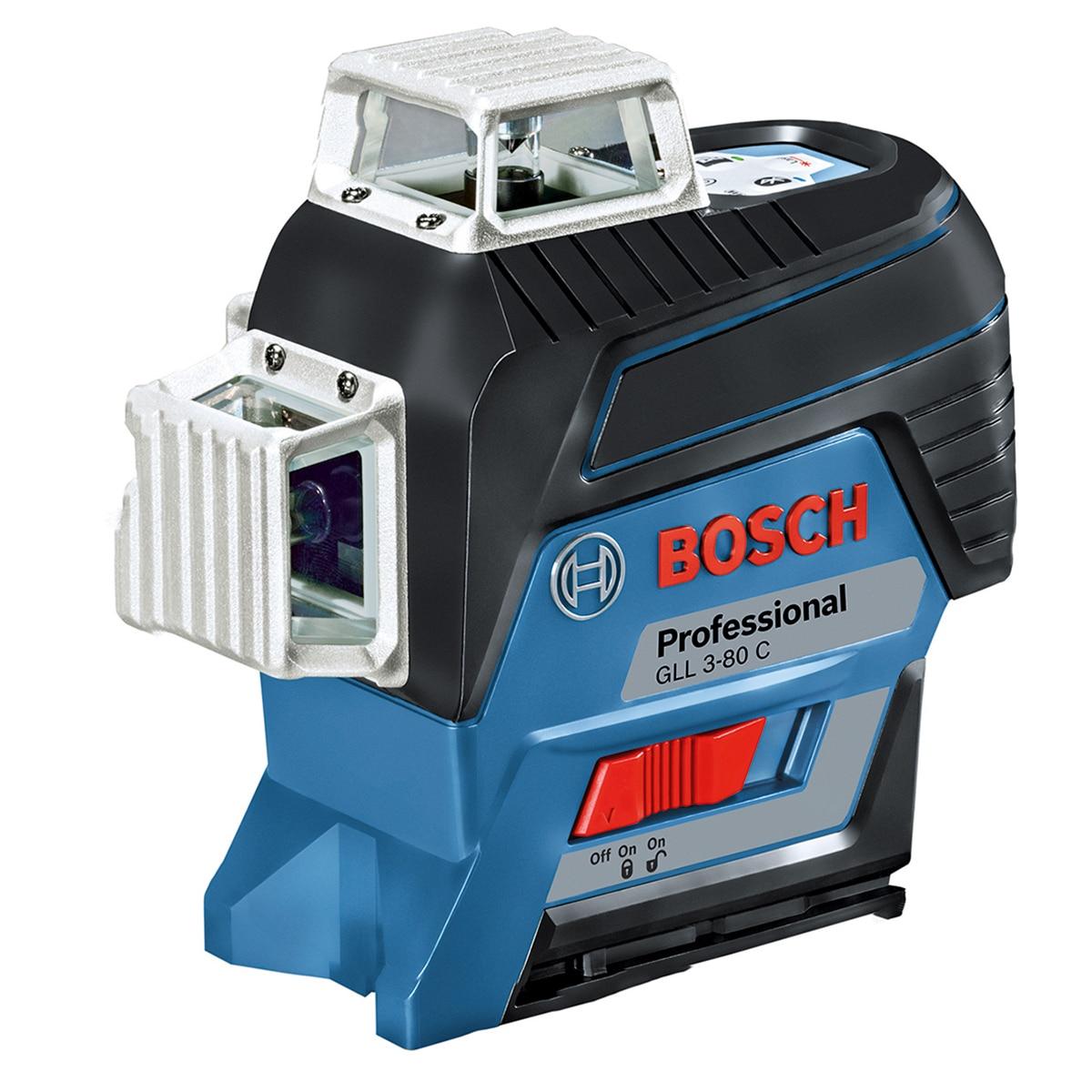 Fotografie Nivela laser cu linii Bosch Professional GLL 3-80 C, 30 m, ± 0.2 mm/m precizie, 650 nm dioda laser, clasa laser 2, IP 54, proiectie 3 linii la 360°, accesorii incluse