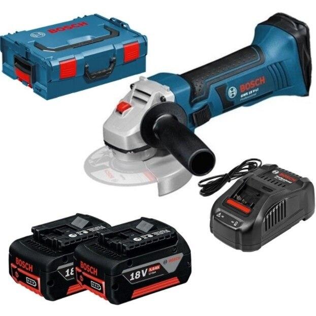 Fotografie Polizor unghiular (flex) Bosch Professional GWS 18 V-LI, 18 V, 5 Ah, 115 mm, protectie suprasarcina, valiza transport, 2 acumulatori Li-Ion