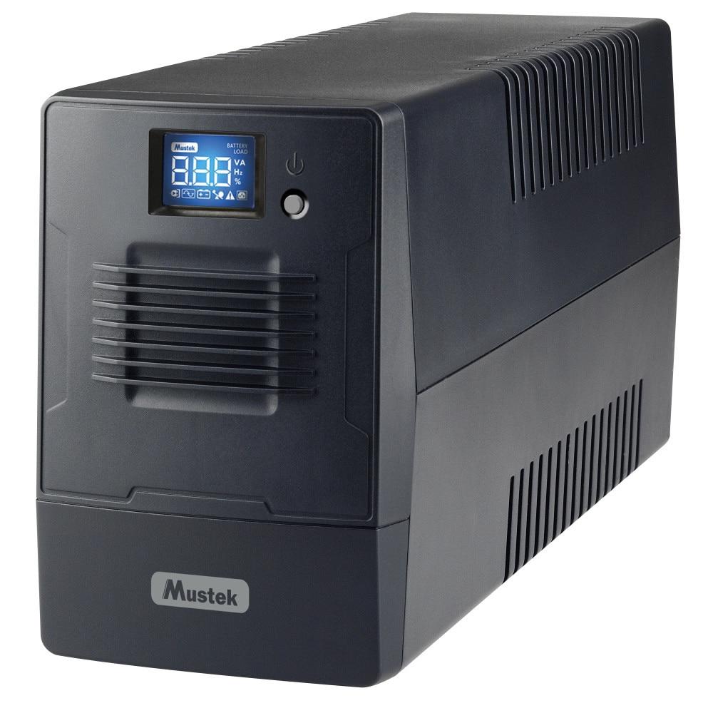 Fotografie UPS MUSTEK Line Int. cu management, LCD, 600VA/ 360W, AVR, 4 x socket IEC, display LCD, USB, combo RJ11