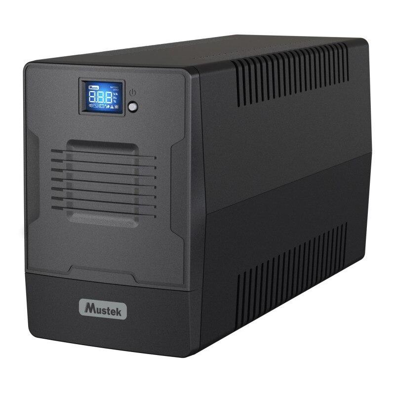 Fotografie UPS MUSTEK Line Int. cu management, LCD, 2000VA/ 1200W, AVR, 2 x IEC & 2 x Shucko, display LCD, USB, combo RJ45, Fan