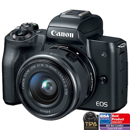 Aparat foto mirrorless Canon EOS M50, 24.1 MP, 4K, Wi-Fi, Negru + Obiectiv EF-M 15- 45mm f/3.5-6.3 IS STM