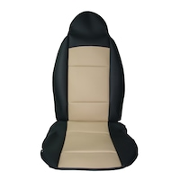 Комплект кожени калъфи AlMar RECARO за предните седалки, Черен/Бежов, 2 бр.