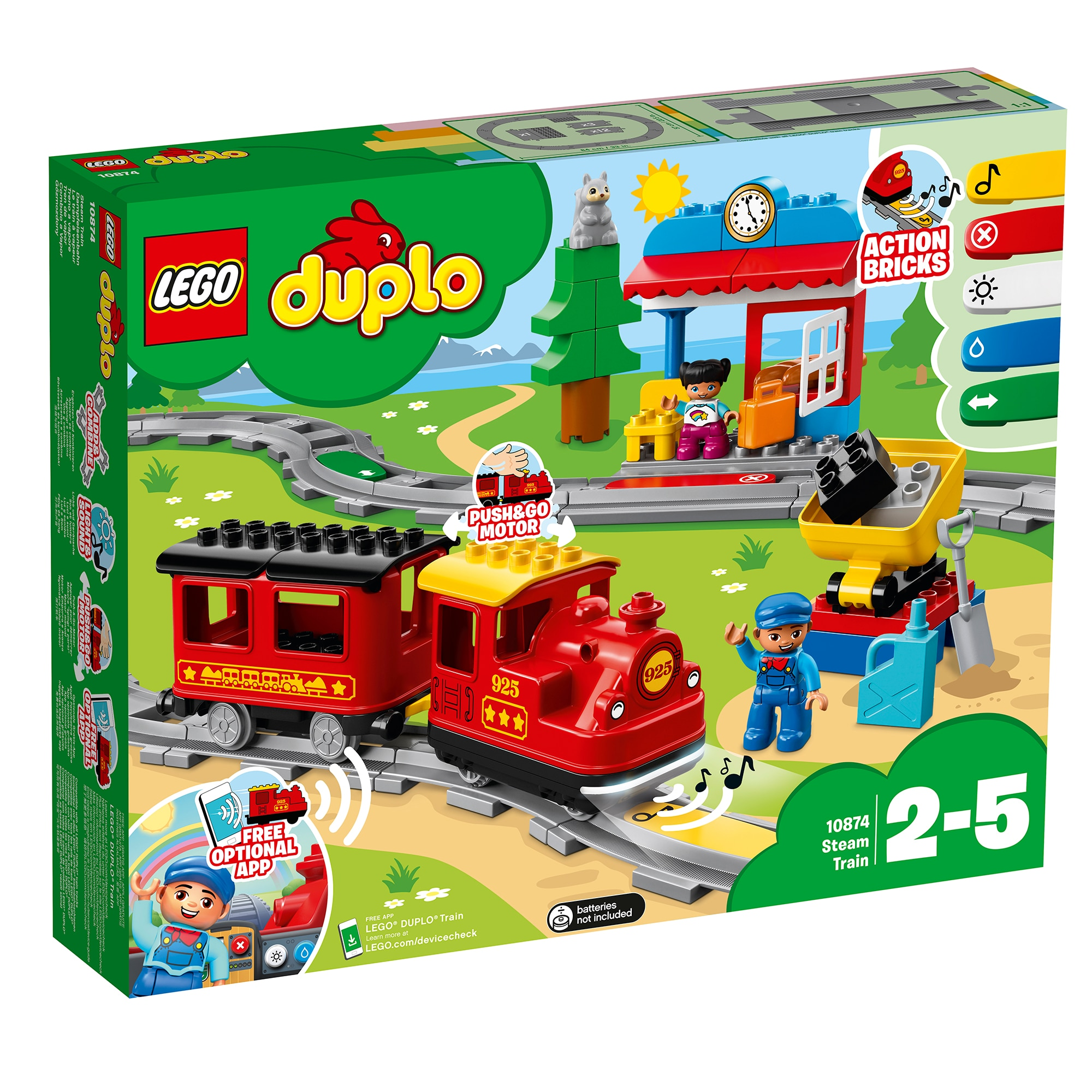 Fotografie LEGO DUPLO - Tren cu aburi 10874, 59 piese