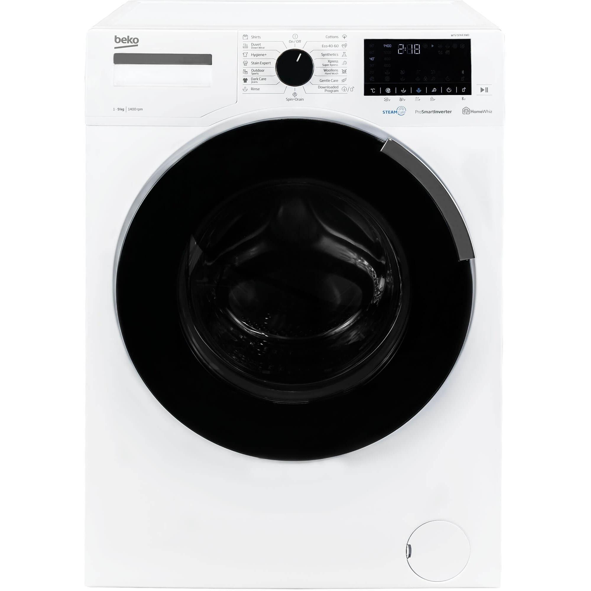 Fotografie Masina de spalat rufe Beko WTV9744XW0, Premium Line, 9 kg, 1400 RPM, Motor ProSmart Inverter, Clasa B, 60 cm, Alb