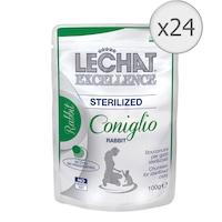 Мокра храна за котки Lechat Sterilized, Заешко, 24 броя х 100 гр