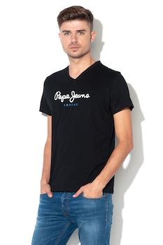 Pepe Jeans London, Eggo normál szabású V-nyakú póló, Fekete