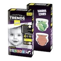 Pufies Trusted Trends 4 Maxi pelenka, Value Pack, Banana Leaves Baby, 104 darab