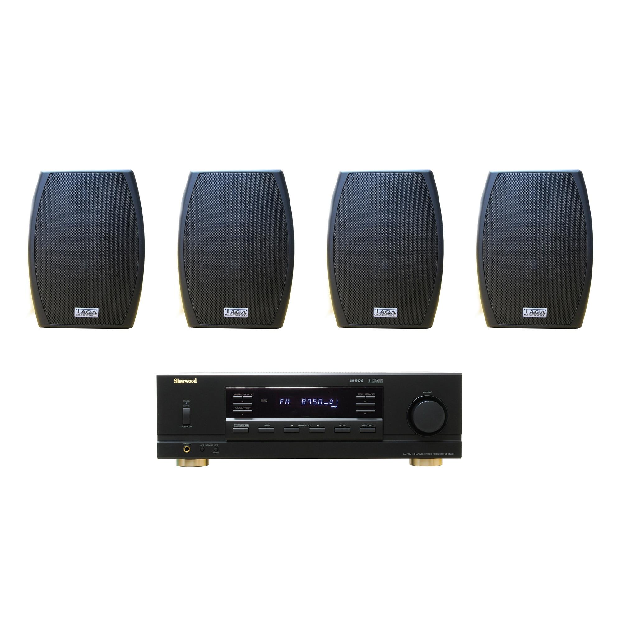 Fotografie Sistem sonorizare Sherwood RX-5502 + boxe Taga Harmony TOS-315 (2perechi), Negru