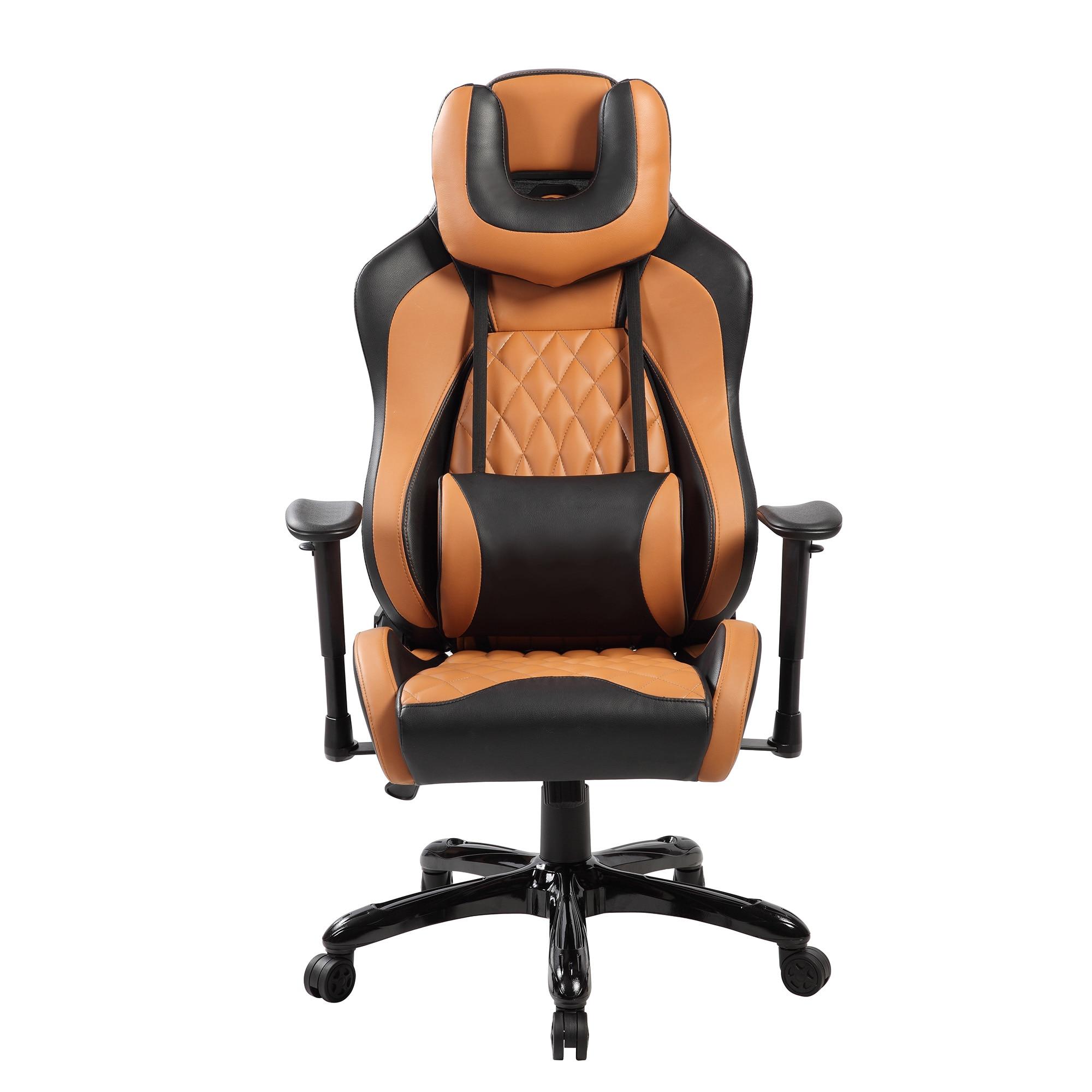 Fotografie Scaun de birou ergonomic Kring Atlas, cu suport lombar si tetiera, PU, Negru/Maro