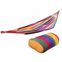 Многоцветен единичен хамак Palmonix,за двор или градина, размери 200х100см с чанта за кабел и съхранение