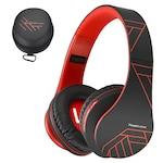 PowerLocus P2 Bluetooth fejhallgató, vezeték nélküli fül köré illeszkedő összehajtható, micro SD, FM Rádió - Piros