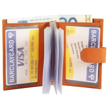 Barna férfi bőr igazolvány-bankkártya tárca