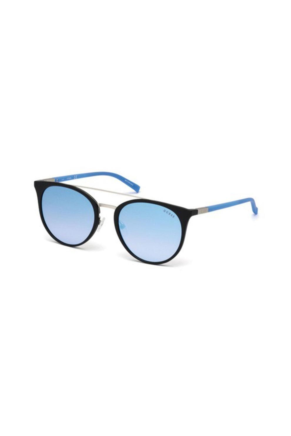 Fotografie Guess, Ochelari de soare aviator, unisex, cu lentile oglinda, Albastru lavanda, 56-20-140 Standard
