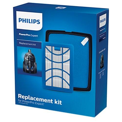 Fotografie Kit de schimb FC8003/01 pentru filtrul antialergic H13 compatibil cu gama Philips PowerPro Expert, Filtru de evacuare, Filtru de admisie lavabil