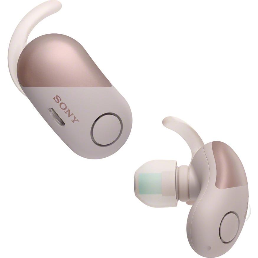 Fotografie Casti sport in-ear portabile True wireless Sony WFSP700NP, Noise Cancelling, Bluetooth, NFC, Google Assistant, Rezistente la stropire, Roz