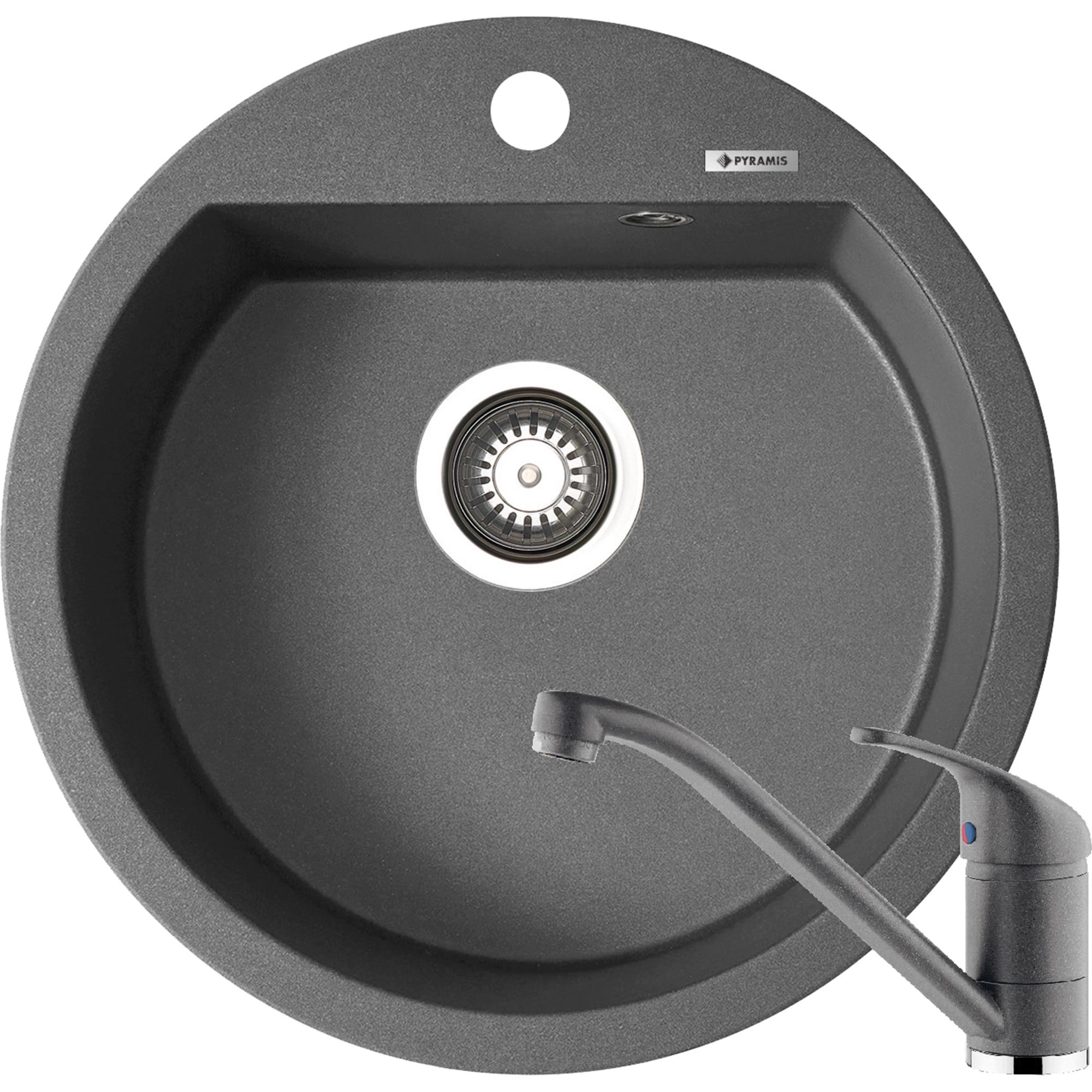 Fotografie Pachet chiuveta pyragranite + Baterie Pyramis Premium Piera, 1B, 510mm, adancime 200mm, Iron Grey