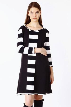 Дамска рокля на райе jivot BG, Цвят Черна