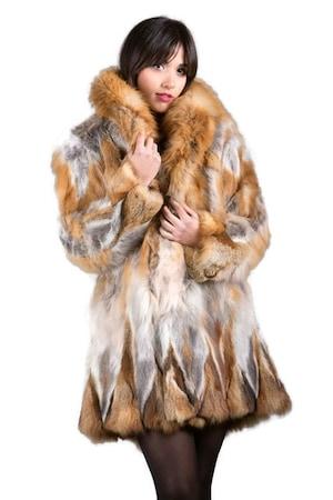 Дамско кожено палто Skandinavikfur, От червена лисица, Естествен косъм