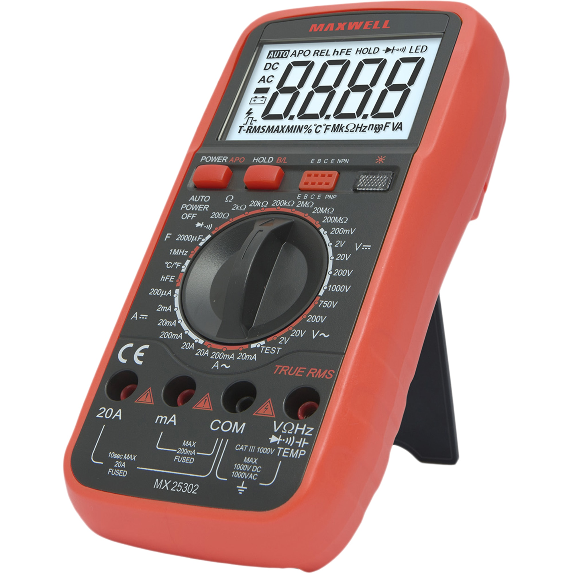 Fotografie Multimetru digital/detector de faza Maxwell 25302, TRUE RMS+TTL, 20A, termometru