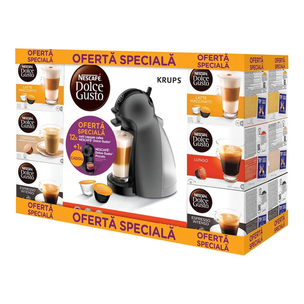 Fotografie Pachet 12 cutii Capsule Nescafe Dolce Gusto + Cadou: Espressor Nescafe Dolce Gusto Piccolo KP1000E20, Negru
