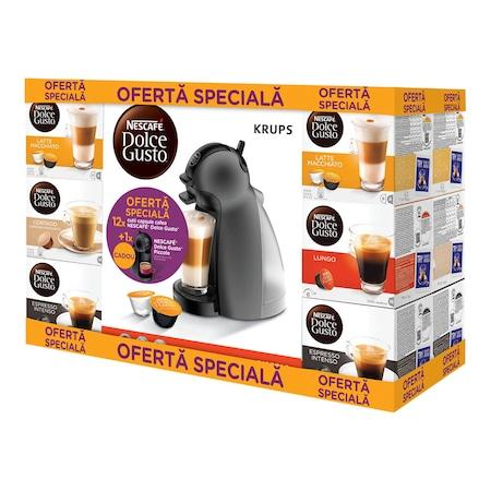 Pachet 12 cutii Capsule Nescafe Dolce Gusto + Cadou: Espressor Nescafe Dolce Gusto Piccolo KP1000E20, Negru