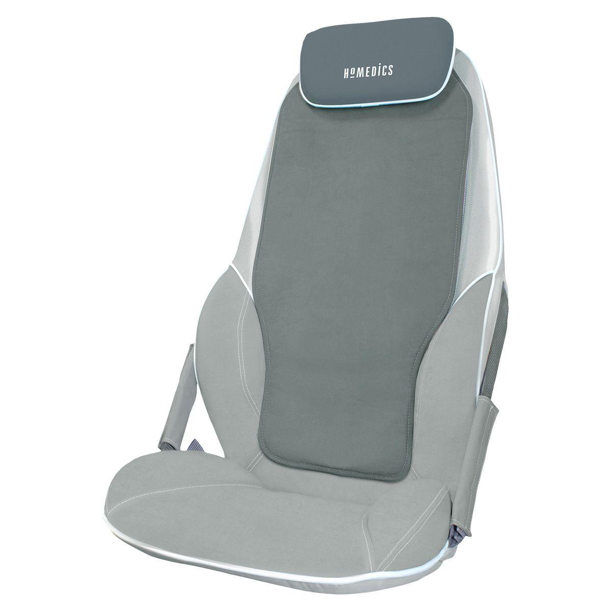 Fotografie Husa de scaun pentru masaj Shiatsu cu incalzire, BMSC-5000H-EU, HoMedics, 14 programe, Gri