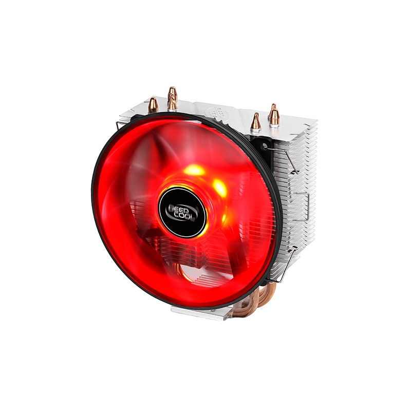 Fotografie Cooler procesor Deepcool GAMMAXX 300 Red, 3 heatpipe-uri, 120mm Red LED, compatibil Intel/AMD
