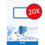 ICO Süni füzet, 1. osztályos, 14-32 A/5, vonalas, 20 darab/csomag