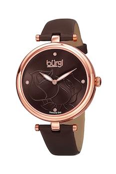 BURGI, Овален часовник с кожена каишка, Тъмнокафяв