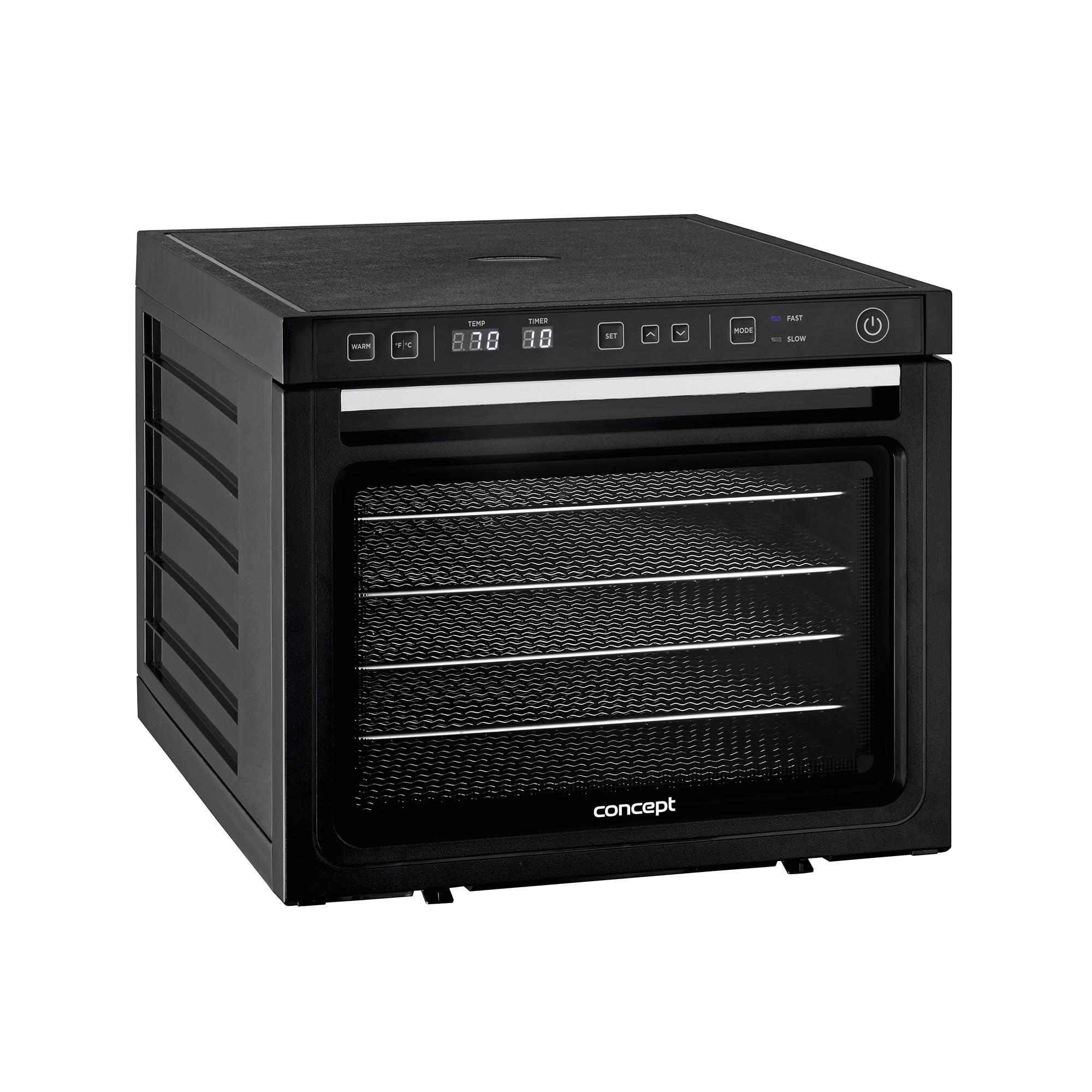 Fotografie Deshidrator de alimente Concept SO3000, 1000 W, 6 tavi de inox, tava 34 x 38 cm, display LED, 2 ventilatoare , 35-70 °C, timer 48h, Negru