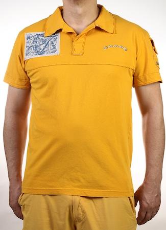 Мъжка тениска Shaos с яка, Жълт цвят и ефектни платки, Размер L