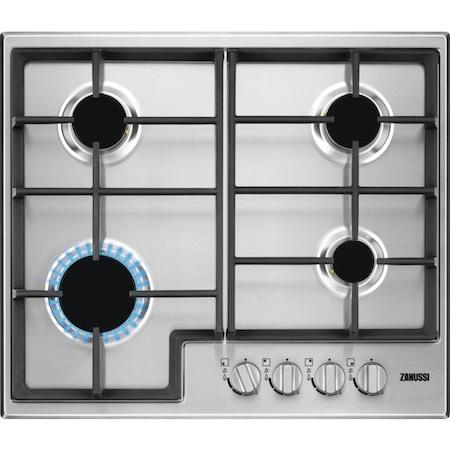 Плот за вграждане Zanussi ZGH66411XS, Газов, 4 нагревателни зони, Ел. запалване, Предпазен клапан, Метална решетка, 60 см, Inox