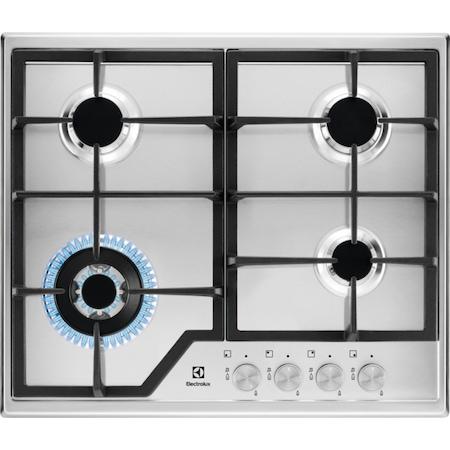 Плот за вграждане Electrolux KGS6436SX, Газ, 4 нагревателни зони, Ел.запалване, Предпазен вентил, Желязна решетка, Arzator Wok, 60 см, Inox