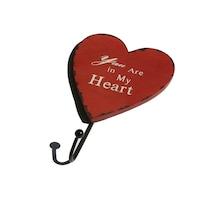 """Szív alakú fa fogas 1 fém akasztóval """"You Are in My Heart"""" piros"""