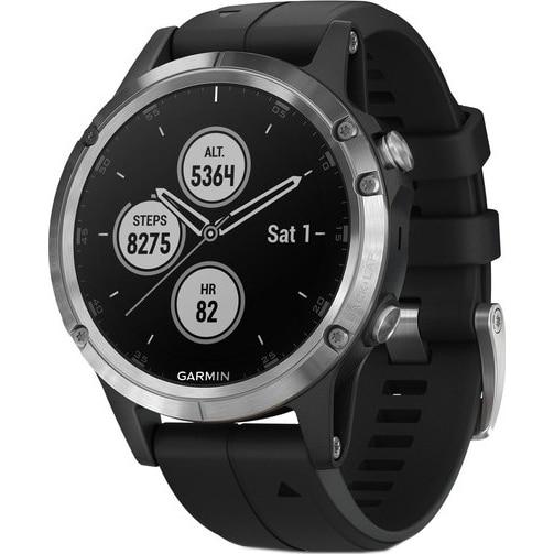 Fotografie Ceas smartwatch Garmin Fenix 5 Plus, HR, GPS, Silver, Silicone Black