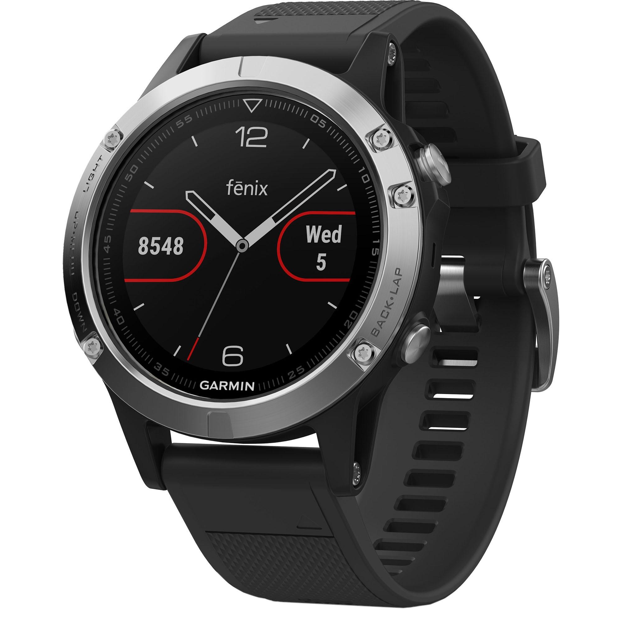 Fotografie Ceas smartwatch Garmin Fenix 5, HR, GPS, Silver, Silicone Black
